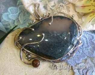 Silver pendant with Moss Agate