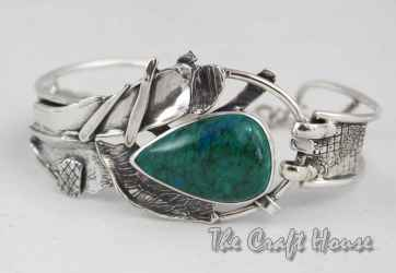 Silver bracelet with Chrysocolla
