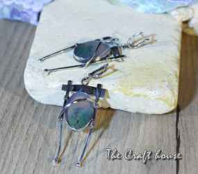 Silver earrings with Landscape Agate