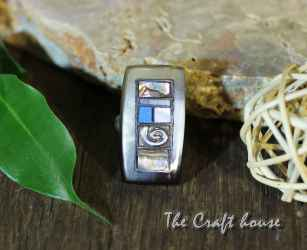 Silver ring with horn, Turquoise and Mother of Pearl